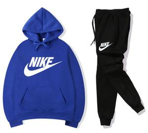 NIKE 2020 Moda Uomo Tuta Designers con cappuccio + pantaloni 2 set pezzo solido di colore dei vestiti fototecnica tute di alta qualità a Mens