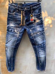 Patlama modelleri mikro elastik kumaş Avrupa ve Amerikan moda caddesi marka d2 kot erkekler kalite son pikap tasarımcısı yıkamak