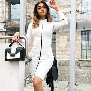 Long Sleeve Skinny Donna Summer Dress ginocchio lunghezza Abbigliamento Donna stand Neck Slim abiti a strisce