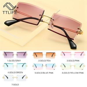 TTLIFE очки для женщин площади Rimless Алмазная резка объектива Марка Модельер Оттенки ВС очки Gafas De Sol YJHH0291