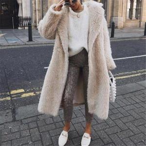 Color Winter Fur Coats Lapel Neck Thick Warm Jacket Coat Womens Open Stitch Outerwear Designer Patchwork Solid