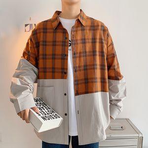 Рубашки Мужчины плед пэчворк с длинным рукавом Корейский моды Harajuku Cltohes Мужской Vintage кнопка рубашка плюс размер 5XL