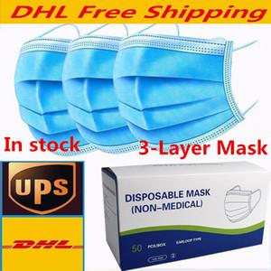 Бесплатная доставка Одноразовые маски для лица Толстые 3-слоя Маски с Earloops для салона домашнего использования Удобная маска Супер быстрая доставка