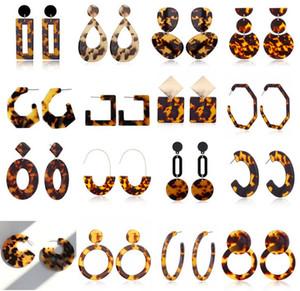 Vente chaude imprimé léopard acrylique géométrique Cercle carré long Boucles d'oreilles Déclaration de mode boucles d'oreilles oreilles Stud pour les femmes