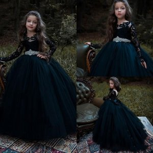Black Long Sleeve Flower Girl Dresses Vintage Jewel Lace Appliqued Ball Gown Pageant Dress Crystal Little Baby First Communion Dress AL6524