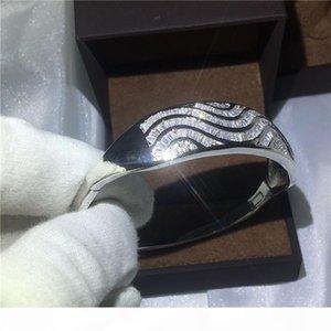 linhas onduladas Handmade pulseira definição diamante S925 Prata Cheio pulseira de noivado por accessaries mulheres casamento Canal