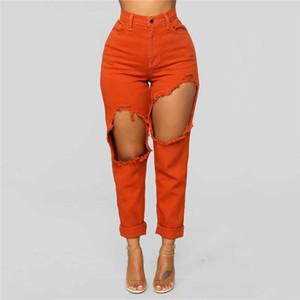 Moda Donna Stretch Jeans Donna vita alta Stretch sexy sottile della matita dei pantaloni di personalità Slim Torn Denim Jeans Donna Denim