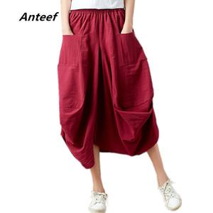 Anteef лето хлопок льняной плюс размер 2020 марочных SAIAS femininas случайные длинные юбки женщины юбки женщина