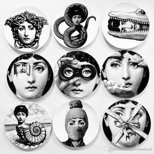 Creativas de la pared colgaban alrededor de la cerámica Placas Placas Inicio Cafetería decoración de la pared 6 pulgadas impresas Retrato placas durable retro TQQ BH0728-2