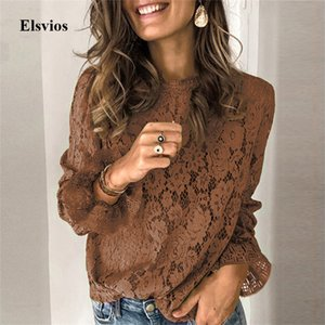 Elegant Embroidery Floral Lace Shirt Blouse Women Spring O-Neck Flare Long Sleeve Blouse Summer Sexy Lady Hollow Out Tops Blusa Y200622