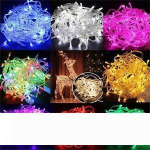 أضواء سلاسل أدى عيد الميلاد مجنون بيع PCS 10M 100 LED السلاسل الخفيفة الديكور 110V 220V حصول على حفل زفاف أدى عطلة الإضاءة
