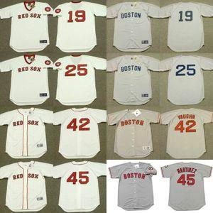 Boston 25 Conigliaro 42 MO VAUGHN 19 Fred Lynn 45 PEDRO MARTINEZ maillot de baseball cousu