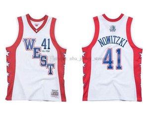 Uomini DallasMavericks41 DirkNowitzki Mitchell Ness bianco del 2004 All-Star Hardwoods Classics Jersey autentica