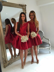 Cheap Satin A Line Bridesmaid Dresses 2020 Zipper Back Sleeveless Graduation Party Gowns Short Prom Dress