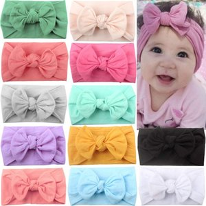12 Colors Super Stretchy Soft Knot Baby Girl Headbands with Hair Bows Head Wrap For Newborn Baby Girls Infant Toddlers Kids Y200710