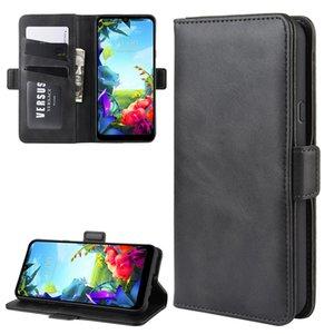 Para LG K40S Duplo Buckle Crazy Horse Negócios Mobile Phone Holster com função de cartão da carteira Bracket