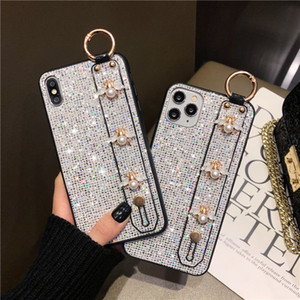 For iphone 11 12 pro max x xr xs max 6 7 8 plus case glittering sequins cute lovely pearl wristband stand phone cases