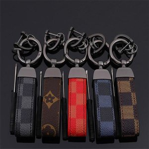 Europe and America Style Key Chain with Leather Business Car Key Rings for Men Gift Fashion Classic Print Key Accessories
