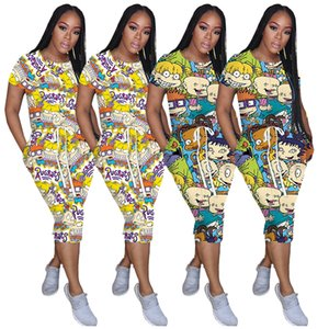 Woman Casual Cartoon Printed Dress Patchwork Desinger Dress Casual Evening Dresses Bodycon Clothes DHL