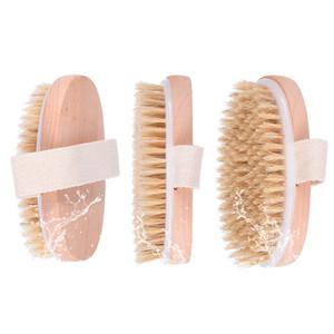 Piel de madera oval cepillo de baño seco Cuerpo Natural Health cerda suave del masaje del baño de ducha cepillo de cerdas cepillo del cuerpo sin mango