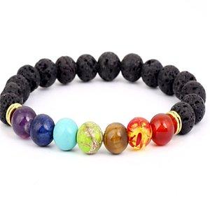 Black Lava Volcanic stone 7 Chakra Bracelet,Natural Stone Yoga Bracelet,Healing Reiki Prayer Balance Buddha Beads Bracelet .