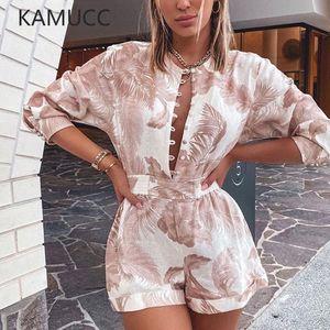 KAMUCC Palms Imprimir Playsuit Mulheres Verão Curto Roupa Romper Mulheres O-Neck Botão Ladies Autumn Shorts Playsuit cintura ajustável