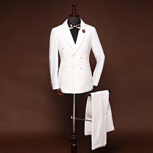 바지 결혼식 신랑 들러리 드레스 남성 정장 화이트 더블 브레스트 숄 칼라 정장 투피스 재킷은 맞춤 제작 한