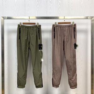 Top shipping nylon mens pants brand travel retro sweat pants details metal nylon mesh breath loose feet ykk zipper shrink trousers for men