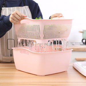 Double-Layer Thick Dish Basin Drain Basket Plastic Large Bowl Rack Household Water Leakage Two-Piece Dormitory Dish Drain Strawberry