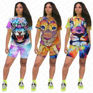 Women Tiger Lion Animal Outfits Designer T-shirts + Shorts 2pcs Sets Tracksuit Summer Tee Tops Short Pants Jogging Suit Night Clubwear D7711