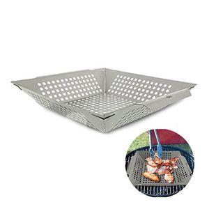 Parrilla para hornear pan bandeja de acero inoxidable Plaza de verduras Grill herramienta Wok cesta barbacoa cuadrícula Topper verduras Barbacoa 20cm 30cm T200111