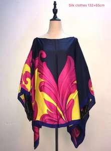 hot selling European printed silk women top Fashion summer summer top design Size 132cm width x 65 cm length African clothes T200713
