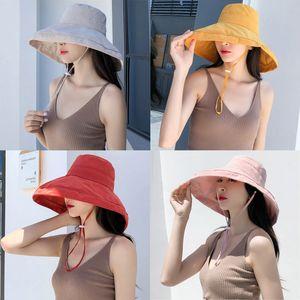 2020 anti-UV wide Brim cotton linen sun hat for women vacation summer panama foldable bucket hat large brim korean beach sun hat