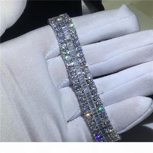 F Handmade Lovers Tennis Armband 5a Zirkonia weißes Gold füllte Partei-Verpflichtungs-Armbänder für Frauen Hochzeit Mithelfer