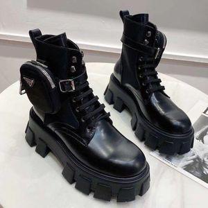 hebilla del negro de la moda de alta calidad cremallera tobillo botines cortos mujeres auténticas botas de cuero grandes martin 35-41