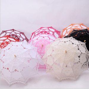 Wedding Lace Umbrella Lace Craft Lace Umbrella cabo de madeira presentes da dama de honra Westerns Vintage Eventos Decoração Parasol Sun Umbrella DHD96