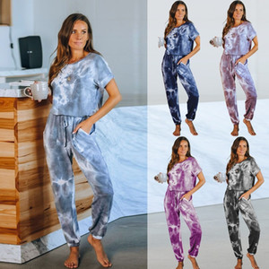 Casual Women Short Sleeve T-shirt Jumpsuit 2020 Summer Female Relaxed Outfits T Shirt Tie Dye Women Loose Rompers