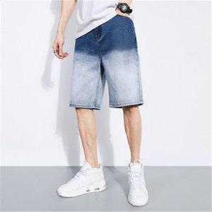 Длина колена Street Mid талия пятибалльной Jeans Zipper Straight Mens Denim шорты Дизайнер Сыпучая Эластичность Повседневный Blue Jeans Thin