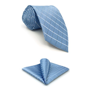 F3 Light Blue Checkes Men's Necktie Set Business Silk Ties for male Xlong Hanky Gift