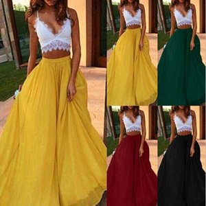 Spring and summer autumn chiffon cool skirt women's elastic waist double anti-going ladies long solid color elegant skirt