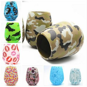 Silicone Wine Cup Antiskid Drop High Grade Red wine Glass Water Bottle Camouflage Skull Bubble Water Lips Beer Whiskey Wine Glasses CLSK219