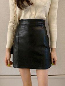 Womens Autumn and Winter black Leather Skirt Ginger High Waist A line Dress Hip skirts womens plus size women sexy skirts X213