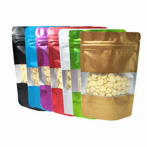 100Pcs lot Stand Up Zip Lock Aluminum Foil Bags with Window Resealable Zipper Packaging Pouch for Tea Nuts Snack Storage
