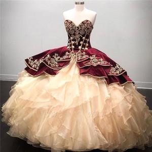 Stunning ricamo Borgogna abito di sfera Abiti Quinceanera 2020 Sweetheart Lace-up Torna gonfi vestidos de 15 años partito abiti