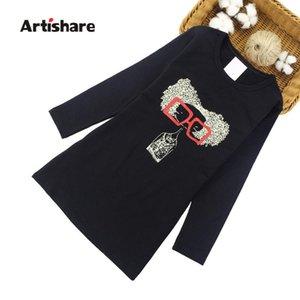 Artishare vestidos de las muchachas del vestido de los vestidos de primavera de dibujos animados partido adolescente Ubicación del otoño por 6 8 10 12 Año ropa para niños
