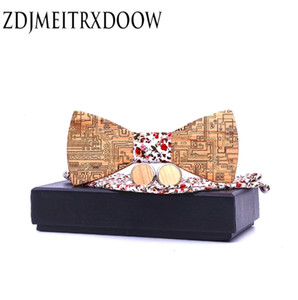 Integrated circuit board Gentleman Bow Ties Handmade Butterfly Wedding Party Bow Ties Wooden Tie for Man Set cadeau homme