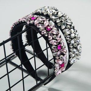 Simple hair accessories rhinestone hair band women's fresh flower all-match Super Flash Baroque wide edge fashion headband