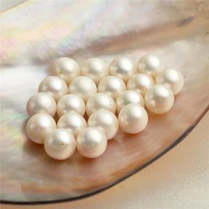 50 Parçalar Toptan 9-9.5mm Yuvarlak Beyaz Tatlı su incileri Gevşek Boncuk Kültürlü Pearl Yarım delinmiş veya Un-delinmiş