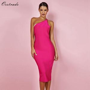 Fashion Dress estate celebrità del vestito dalla fasciatura di colore rosa caldo Backless partito sexy delle donne Bodycon della spalla del vestito dalla fasciatura S-XL