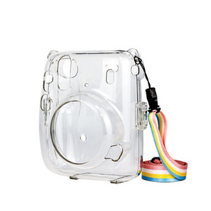 Popular fashion designer clear pc crystal crossbody sling camera bag for Fujifilm instax mini 11 with rainbow strap